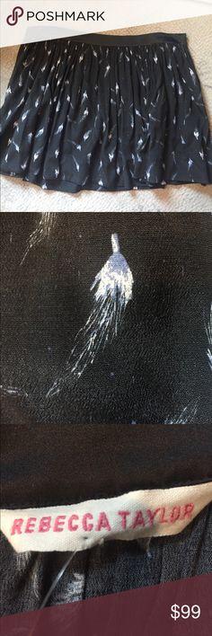 Rebecca Taylor flirty birds of a feather skirt Fun, flirty, skirt from Rebecca Taylor. Black with blue feather print. Rebecca Taylor Skirts