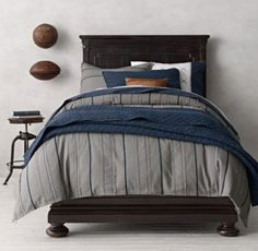 RH baby&child's Vintage Baseball Stripe & Baseball Bedding Collection:A step up to the major leagues, this bedding knocks it out of the park. Reminiscent of actual baseball stitching, appliquéd stripes give the tough top layer its sporting good looks, while the frayed edges and red topstitching impart a worn-in patina.