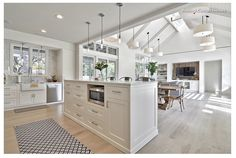 Classic Hamptons architecture features details such as pitched ceilings, exposed beams, timber sarking on walls and ceilings, wood floors, pale colours and lots of light. Consider this when planning a Hamptons kitchen, as it will work best in a house that already possesses some of these features.
