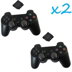 2X New Black Wireless Shock Game Controller for Sony PS2 Free Shipping #UnbrandedGeneric