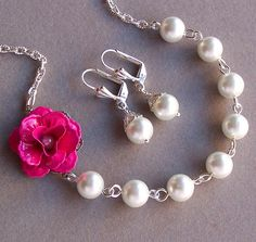 Bridesmaids Necklace  with Magenta Flower and by lecollezione, $35.00