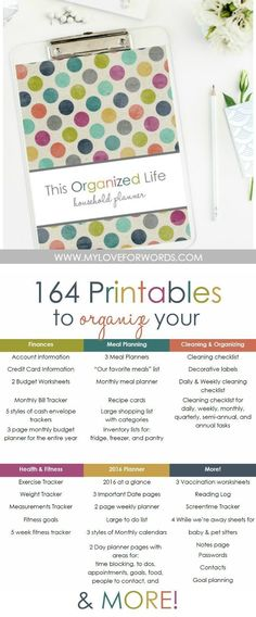 Need a little help getting your life organized? This printable collection is for you! 164 printable pages to organize your: finances, meal planning, kitchen storage, health and fitness, kids, pets, time management, to do lists, and more! You'll also get 5 decorative cover designs for each and every section!