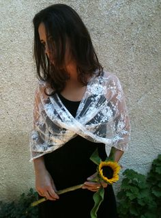 Ivory bridal shawl (4 options- shawl, shrug, twist and scarf) romantic clothing, vintage style wedding, feminine bolero. $45.00, via Etsy.