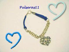 Pulsera corazon dorado