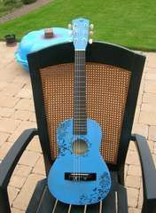 Very cool blue decorated guitar