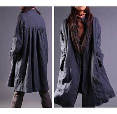 RAMIES/ Free Style Pleated Linen Long Jacket/ Cape/ door Ramies