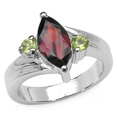 Malaika Sterling Silver 2 1/5ct Garnet and Peridot Ring (Size-8, Red), Women's, Size: 8, Green