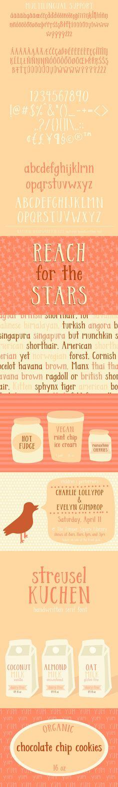 Streusel Kuchen Handwritten Serif - Web & Graphic Design on SVG Ninja Best Serif Fonts, Vegan Fudge, Coconut Chocolate Chip Cookies, Organic Chocolate, Punctuation, Lowercase A, This Or That Questions, Ninja, Graphic Design