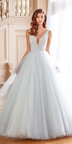 21 Adorable Blue Wedding Dresses For Romantic Celebration ❤️ blue dresses a line sleeveless deep v neck tulle skirt lace mon cheri ❤️ See more: http://www.weddingforward.com/blue-wedding-dresses/ #wedding #bride