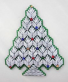 HANDMADE COMPLETED PLASTIC CANVAS CHRISTMAS TREE REFRIGERATOR MAGNET SEQUINS