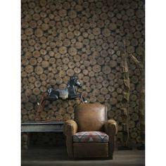 Lumberjack Wallpaper. A log pile wallpaper design featuring intricately detailed rustic sawn wooden logs.