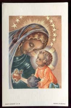 ANTIQUE HOLY CARD OF THE BLESSED VIRGIN AND JESUS