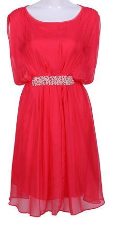 Red Sleeveless Pearls Embellished Silk Dress