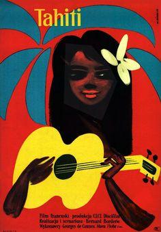 Vintage Polish movie poster 1958 by Wiktor Gorka : Tahiti