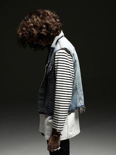 Denim vest and stripes