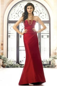 Simple Formal Apple Burgundy Glamorous & Dramatic Evening Dress - 1