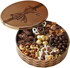 Christmas Holiday Nuts Gift Basket Chocolate Gourmet Food Lovely Present Best Chocolate Gifts, Chocolate Bonbon, Chocolate Gift Boxes, Gourmet Food Gifts, Gourmet Gift Baskets, Gourmet Recipes, Chocolate Box Packaging, Foods For Abs, Dessert Packaging
