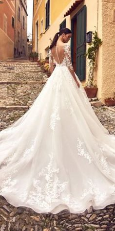 36 Gorgeous A-Line Wedding Dresses ❤ a line wedding dresses a line with long sleeves illusion back lace nicolespose Indian Wedding Gowns, Western Wedding Dresses, Sexy Wedding Dresses, Wedding Dress Styles, Designer Wedding Dresses, Bridal Dresses, Corset Back Wedding Dress, Lace Wedding, Wedding Gown A Line