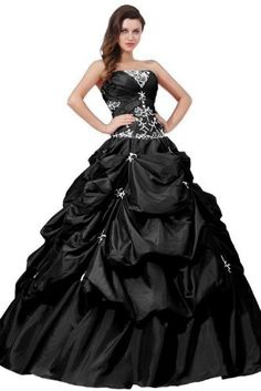 Sunvary New Arrival Ball Gown Strapless Neckline Appliqued Ruffle Long Prom Gowns Quinceanera Dresses- US Size 2- Black Sunvary,http://www.amazon.com/dp/B00BUHVMZY/ref=cm_sw_r_pi_dp_VWjRsb1V2WHPGZ1X