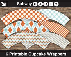 "Printable Aqua, Teal and Orange Cupcake Wrappers. Chevron, Argyle, Jumbo Polka Dot & Candy Stripes Patterns. DIY 8""x11"" jpg INSTANT DOWNLOAD by subwayParty.Etsy.com #babyshower, #partyprintables, #bridalshower, #wedding"