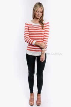 orange + white striped sweater.
