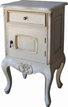 Simply stunning French Bedside with nicely shaped cabriole legs. Hand crafted from solid mahogany and finished with an antique white paint finish. Available from Lock Stock and Barrel Furniture.