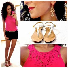 Hello, Gorgeous!: In a trance. - love the details on the pink shirt and pairing with black shorts
