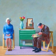 David Hockney - My Parents, 1977. Oil on canvas - one of my favourite Hockney paintings in honour of his birthday today #art