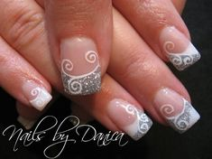 Swirl nails French tips white silver glitter white swirls #nails #DIY NAIL ART DESIGNS