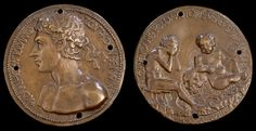 Giovanni Boldù, Self-portrait medal, 8.5 cm in diameter, bronze, 1458 (Samuel H. Kress Collection, National Gallery of Art, Washington D.C.). This is a very early example of a self-portrait medal. Note that the artist is depicted nude, which was highly unusual for the time. The reverse shows Boldù sitting, seemingly in distress, with a putto leaning on a skull next to him.