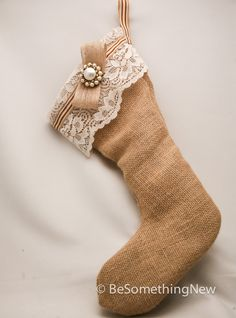 Rustic burlap Christmas stocking with vintage accents. $45.00, via Etsy.