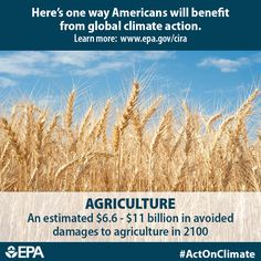 The agriculture industry supplies food to Americans across the country. Climate change can impact crop productivity due to changes in temperature and precipitation. If we #ActOnClimate, farmers and consumers could avoid $6.6 - $11 billion in damages per year by 2100.  http://www2.epa.gov/cira/climate-action-benefits-agriculture-and-forestry