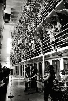 Metallica preforming at San Quentin State Prison, 2003 | rock and roll for your soul | prisoners | criminal behaviour | music | black & white | www.republicofyou.com.au