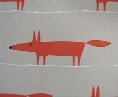 Mr Fox Fabric Scandinavian Vtg 60s 70s Style Fabric DIY Cushion John Lewis | eBay