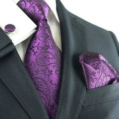 Landisun Dark Purple Paisleys Men's Silk Tie Set: Tie + Hanky + Cufflinks