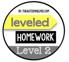 Included in this packet is a parent letter to explain the importance of homework and the method of completing homework each night. Each homework packet is two pages with a section for each day of the week. by theautismhelper.com