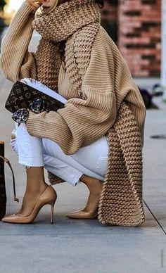 Women's Casual Pure Color Shoulder Sleeve Knit Sweater – Knitting patterns, knitting designs, knitting for beginners. Winter Fashion Outfits, Fall Winter Outfits, Autumn Winter Fashion, Casual Outfits, Casual Shirt, Women's Casual, Fashion Dresses, Fashion Mode, Fashion Trends