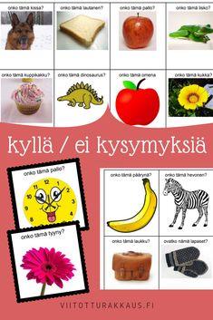 Kyllä/ei kysymyskortteja - Viitottu Rakkaus Finnish Language, Early Childhood Education, Pre School, Pineapple, Activities, Fruit, Children, Peda, Eggs