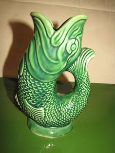 Vintage Green Majolica Fish Pitcher (Vase) Dartmouth England