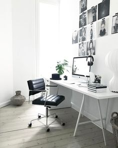 Black and white work space in the Danish home of Annika Von Holdt.