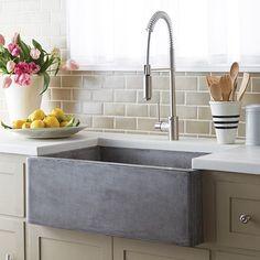 "Native Trails NSK3018 Farmhouse 30"" Single Basin Undermount Kitchen Sink Ash Fixture Kitchen Sink Concrete"