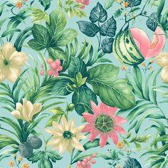 Botanical Bloemen blauw, groen en roze