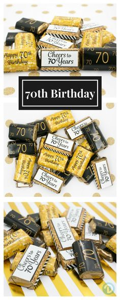 Black And Gold 70th Birthday Party Mini Candy Bar Stickers