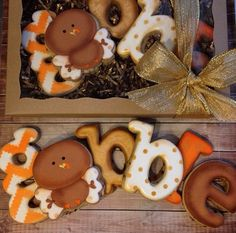 Make this out of wooden letters an attach to a turkey day wreath. Fall Decorated Cookies, Fall Cookies, Iced Cookies, Cut Out Cookies, Cute Cookies, Holiday Cookies, Cupcake Cookies, Sugar Cookies, Cookies Et Biscuits