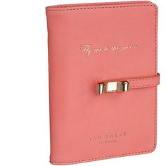 Ted Baker Coral Travel Document Holder ($45) ❤ liked on Polyvore featuring home, home decor, office accessories, pink, pink office accessories, ted baker and pink pens