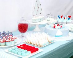 nautical birthday ideas-red, white, and baby blue