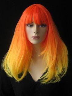 Dark and light orange dip-dyed wig