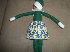 Christmas Elf doll skirt blue and yellow by on Etsy Christmas Elf Doll, Yellow, Blue, Dolls, Skirt, Holiday Decor, Handmade, Stuff To Buy, Etsy
