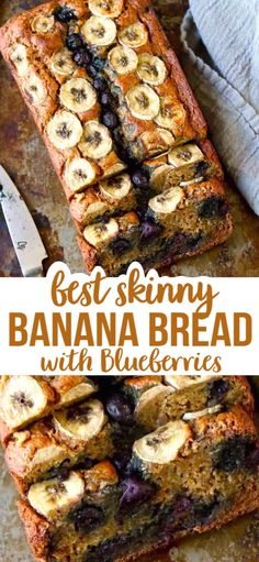 You would never guess that this Skinny Banana Bread with Blueberries has a fraction of the calories and fat of a traditional banana bread recipe. Tender with a ton of flavor! 139 calories and 3 Weight Watchers SP Healthy Banana Recipes, Healthy Banana Bread, Blueberry Recipes, Banana Bread Recipes, Vegetarian Recipes, Cooking Recipes, Top Recipes, Healthy Eats, Crockpot Recipes