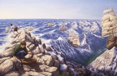 Magic Realism in Rob Gonsalves Fine Art via Magritte Optical Illusion Paintings, Amazing Optical Illusions, Magic Illusions, Illusion Kunst, Illusion Art, Canadian Painters, Canadian Artists, Robert Gonsalves, Rene Magritte